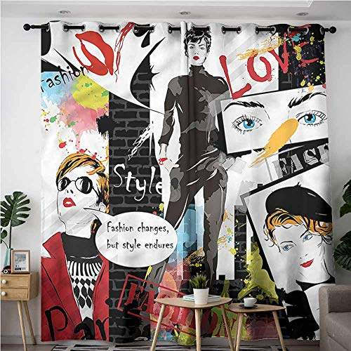 (XXANS Window Curtain Panel,Girls,Glamour Fashion Magazine Lady,Insulated with Grommet Curtains for Bedroom,W72x108L)
