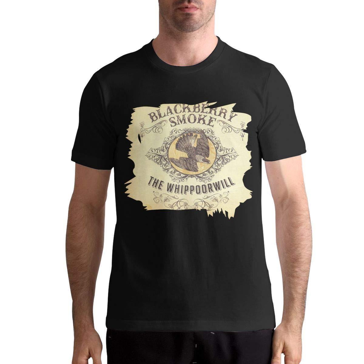 Hye D Riche BlackBerry Smoke-The Whippoorwill Men Fashion Short Sleeve Music Band Shirts Shirt Black