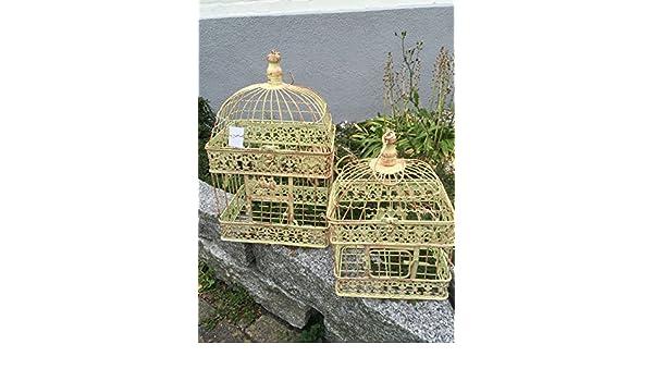 Maceta jaula jaula decorativa pájaro jaula pájaro Juego de 2 pares ...