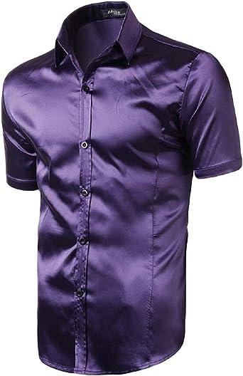 Camisa de Manga Corta de satén de Seda Hombre - Morado - Small: Amazon.es: Ropa y accesorios