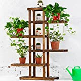 Solid Wood Folding Flower Rack Balcony Multi-storey Wooden Floor-style Bonsai Flower Shelf Living Room Interior (carbon Baking Color)