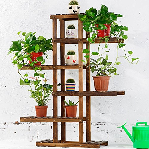 Solid Wood Folding Flower Rack Balcony Multi-storey Wooden Floor-style Bonsai Flower Shelf Living Room Interior (carbon Baking Color) by LITINGMEI Flower rack