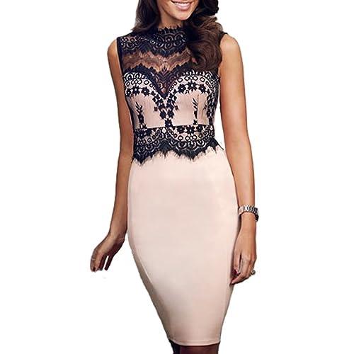 mywy - abito donna tubino beige pizzo nero elegante senza maniche cerimonia festa