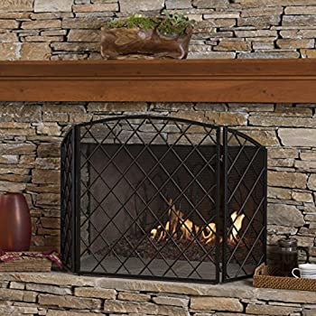 Image of Christopher Knight Home Angella 3 Panelled Black Iron Fireplace Screen
