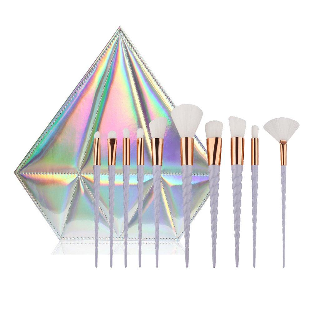 CDC® 10pcs Spiral Unicorn Handle Shape Rainbow Synthetic Make-up Brush Set Professional Foundation Eyeshadow Blusher Brush Kit, with Diamond Bag