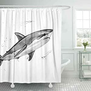 Dethel Shower Curtain Set, 72X72 Camper Shower Curtain Country Shower Curtain Watercolor Great White Shark Painting Shower Curtain for Women Outdoor Shower Curtain