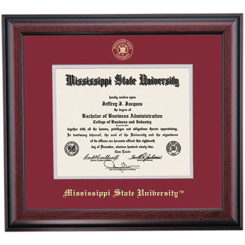 Mississippi State Bulldogs Diploma Frame Maroon Gray Matting Embossed Seal by Campus Linens