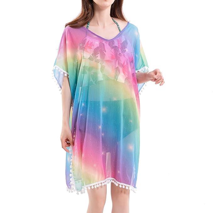 81f20600a0 Women Chiffon Cover-up Unicorn Rainbow Beach Swimsuit Swim Dress (Rainbow)  at Amazon Women's Clothing store: