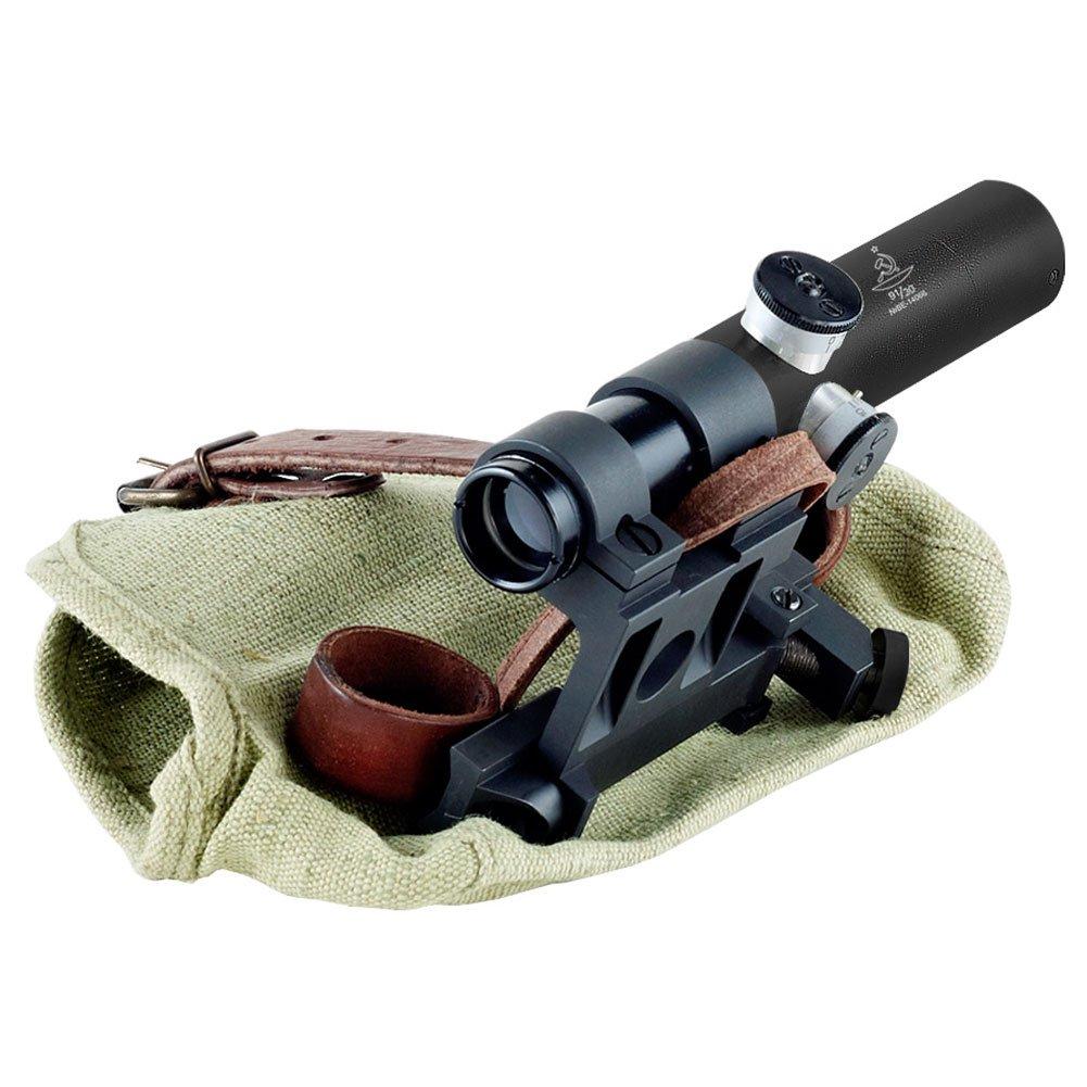 Bering Optics Russian 3.5×20 PU Scope with Solid Steel Mosin-Nagant Rifle Mount, Black