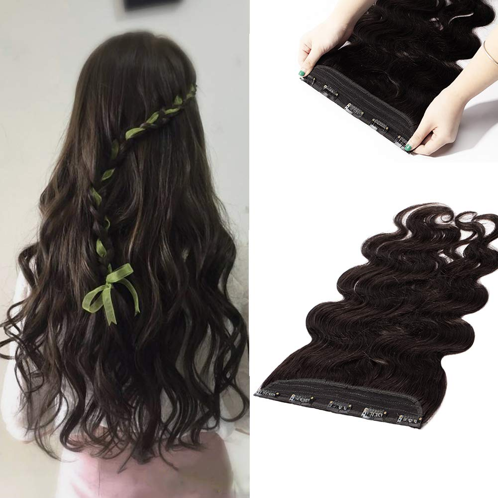 Clip in Human Hair Extensions Wavy Curly 100% Remy Natural Hair Full Head 1 Piece 5 Clips Long Thick Soft Silky Straight for Women Beauty Body Wave 22'' / 22 inch 100g,#1B Natural Black)