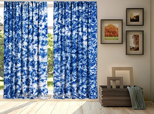Exclusive Curtain Indian Drape Handmade Curtain Cotton Home Wall Curtain Set Tapestry Door Window Tie Dye Shibori Curtain Drape Panel Scarf Valance 84…