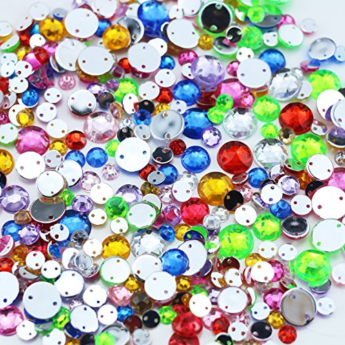 Etmact 800 Pieces Flat back Rhinestones Mixed Colors Round Crystal Gems Two Holes 5 mm - 10 mm, 4 Sizes (10 Mm Rhinestone Crystal)