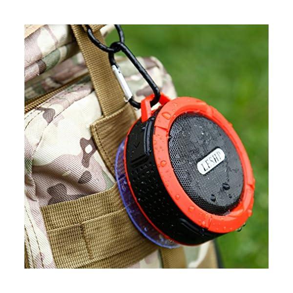 Haut-parleur Bluetooth leshp sans fil stéréo portable Musique Box (Basses puissantes, audio haute définition, IP66anti-éclaboussures, connexion USB pour portable à charges de plein air) 7