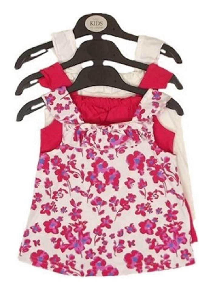 9aaa74b28662 Girls 3 Pack Summer Tops Age 4 5 Years Floral Ruffle Tunics  Amazon.co.uk   Clothing