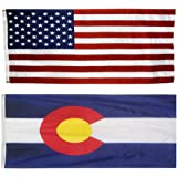 US Flag with Colorado State Flag 3 x 5 - 100% American Made - Nylon