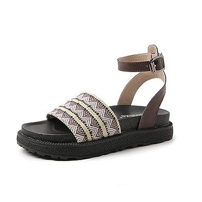 Tlingit Schuhe Damen Sommer Ankle Strap Sandalen Boho Peep Toe Madchen Plateau Strand Sandals Dicker Boden 4 cm Schnalle Shoes Schwarz Braun 35-42  Braun(bitte Nehmen Sie das Grosenetikett der Schuhe Als Standard Wenn Sie Sie Erhalten.)