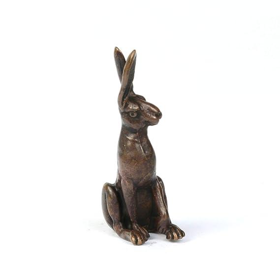 Miniature hare sculpture foundry cast solid bronze sitting hare bonsai figure