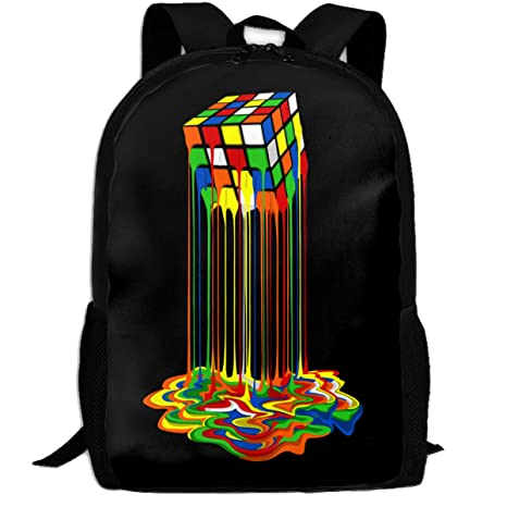 1b97e2612c38 Amazon.com  GOBG Melting Rubix Cube Durable College Bookbags ...