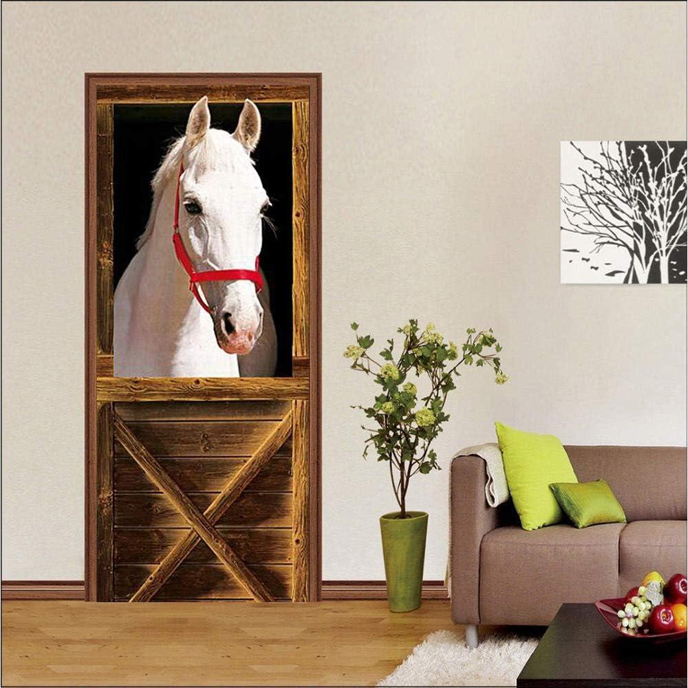 Pegatina pesebre puerta creativa 3d papel autoadhesivo dormitorio sala de estar caballo blanco caballo comedero 77x200 cm