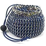 Blue and Silver Chain Maille Dice Bag Medium Sized Holds 30+ Dice