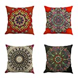 Lilac Beauty Pillow Cover, Suzani Pillows 18x18, Outdoor Cushions Cover, Bohemian Pillow Cases Decorative(4 pcs)