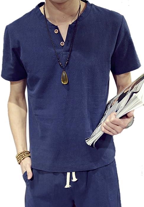 Insun Hombre Camisas Manga Corta Algodón Lino Verano Camisetas