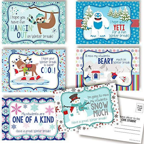 "Have A Great Winter Break Themed Blank Postcards For Teachers To Send To Students, 4""x6"" Fill In Notecards (6 other designs) by way of AmandaCreation (30)"