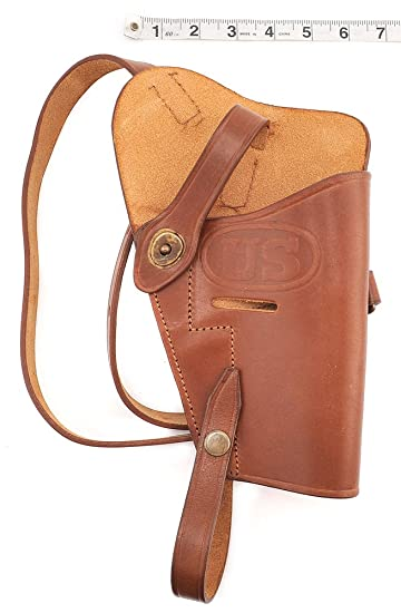 World War Supply M3 Premium Brown Drum Dyed Leather Tanker Shoulder Holster  Marked JT&L 1943