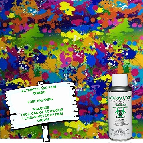 Hydro Dip - Hydrographic Film - Water Transfer Printing - Hydro Dipping - 6oz. Activator with PAINT SPLATTER 2 KIT (Paint Hydrographic)