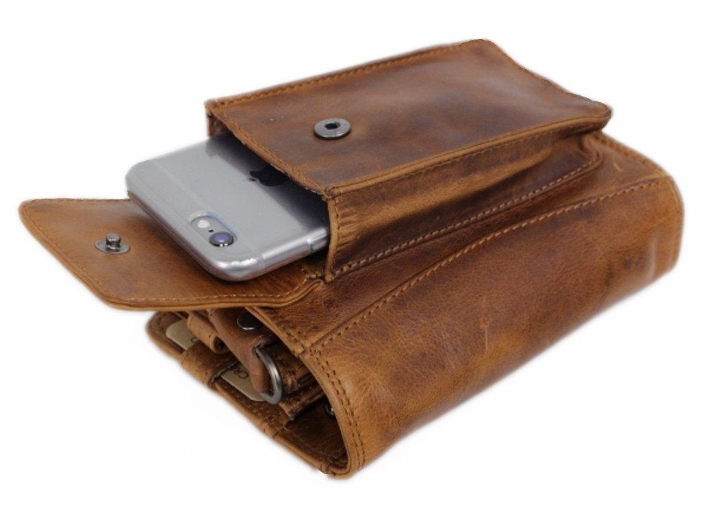 Travel Wallet For Men Women Organizer Genuine Leather Purse Wrist Bag Crossbody Handmade Vintage With Coin Phone Pocket cognac Cairo