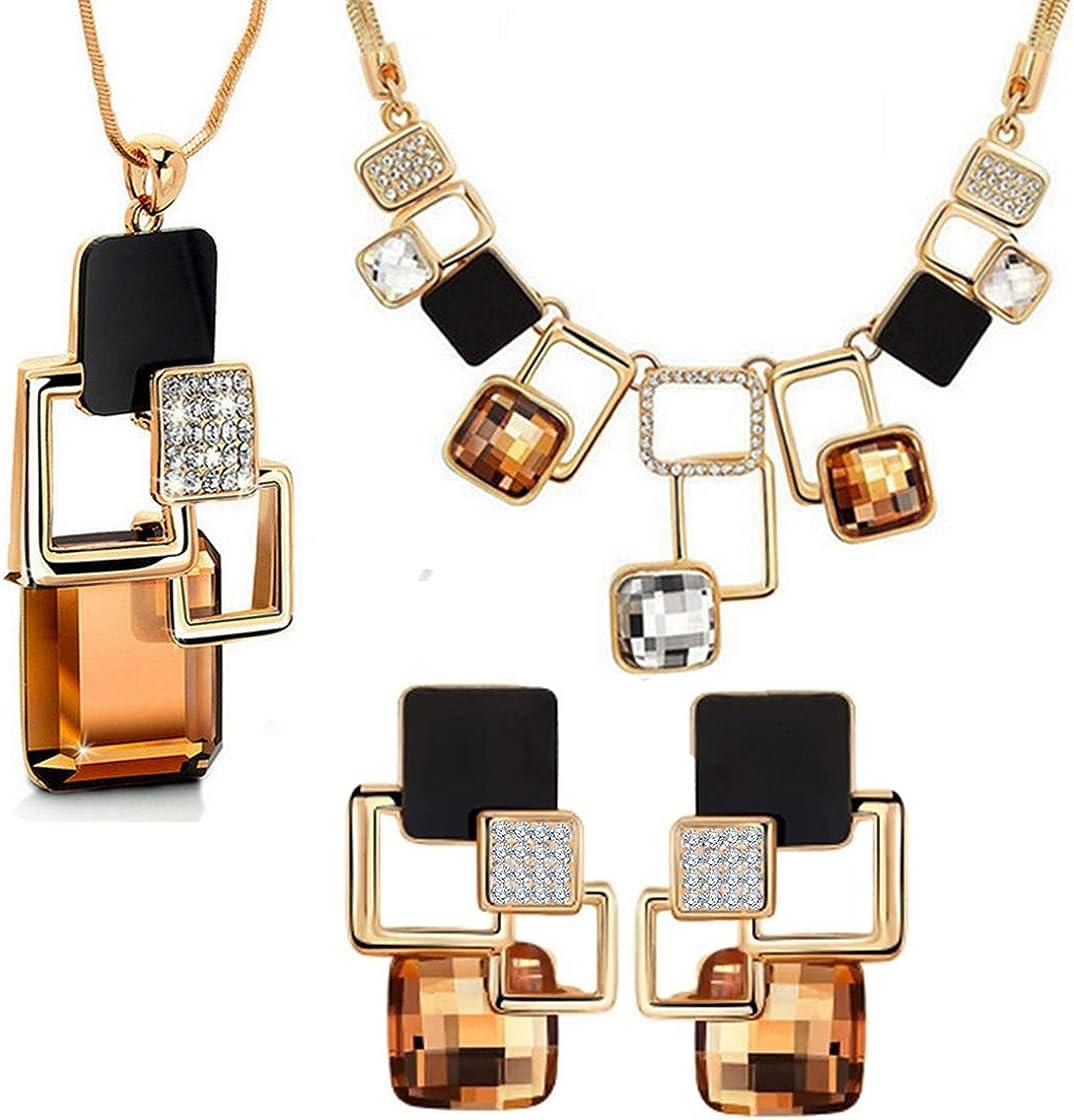 Mujer Geométrico Cuadrado Cristal Conjunto de Joyas de 3, Irregular 1 Pendientes 2 Collars Conjunto de Joyas, Champán