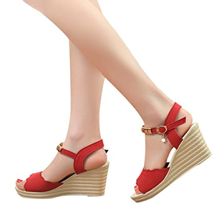 662c9f6727015 AIMTOPPY HOT Sale, Summer Wedges Sandals Shinestone Waterproof Platform  open Toe word Buckle women's Shoes (US:6.5, Red)