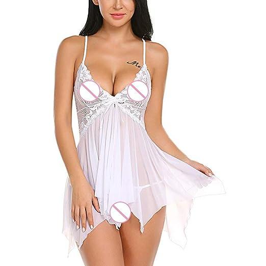 949a043182 Mose Transparent Nightdress for Sex Women Lingerie Flower Lace Lingerie  Babydoll V Neck Sleepwear Strap Chemise