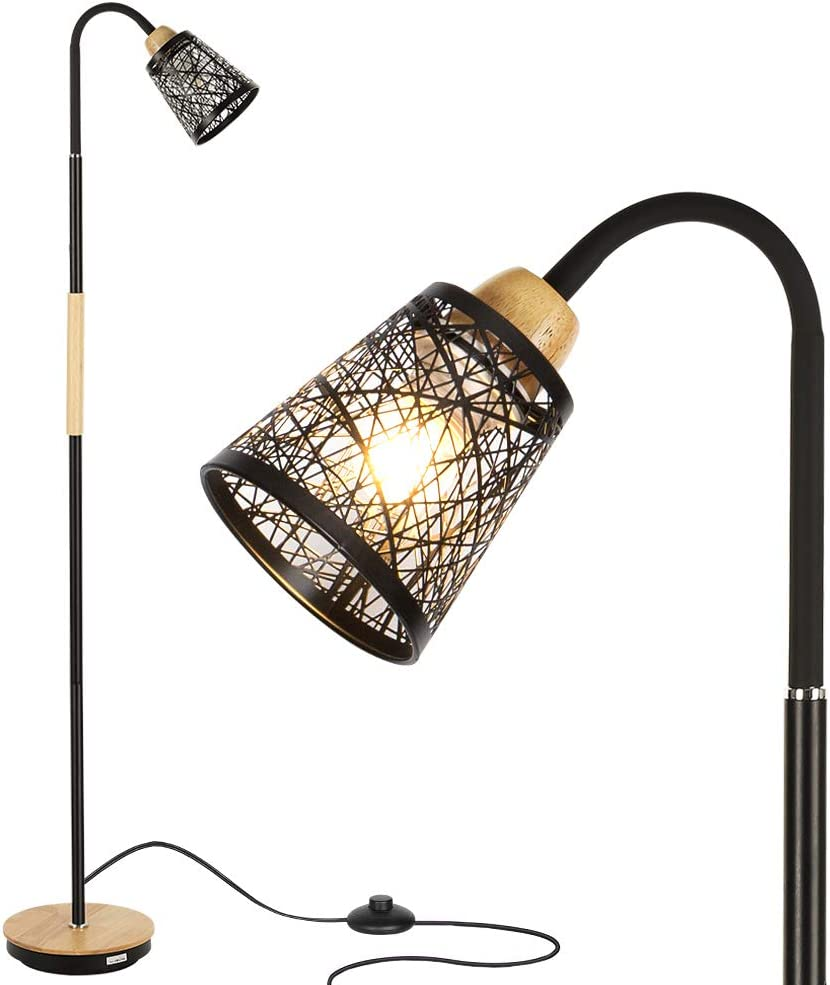 HAITRAL Modern Floor Lamp – Tall Standing Lamp with 360 Adjustable Swing Arm, Industrial Reading Lamps for Living Room, Bedroom, Office, College Dorm – Black Without Bulb