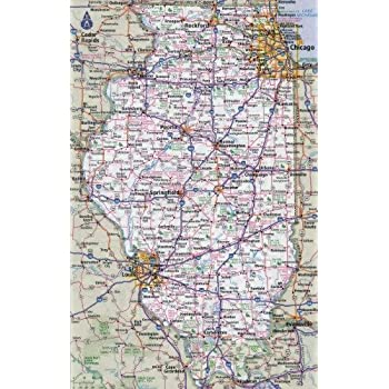 Amazon.com: ConversationPrints ILLINOIS STATE ROAD MAP GLOSSY POSTER ...