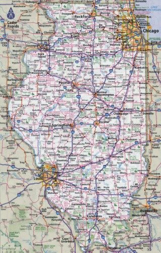 Illinois Road Map Amazon.com: ConversationPrints ILLINOIS STATE ROAD MAP GLOSSY