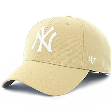 c4f78a18f61b4 47 Brand Cap - Mlb New York Yankees Mvp Curved V Struct fit cream white  size  Adjustable  Amazon.co.uk  Clothing