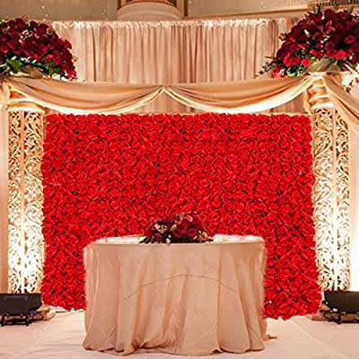 "Artificial 24"" X 16"" Inches Red Roses Panel. Suggested Uses Include Backdrop Photography, Garden Decor, Wedding Decorations, Flower Crafts and Landscaping."