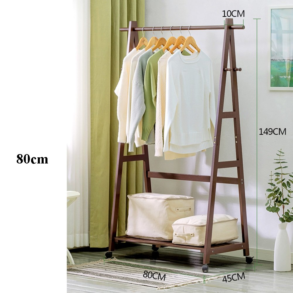 8045149 NYDZDM Wooden Coat Rack Stand Garment Rack Coat Clothes Hanging Rail Single Tiers 4 Hooks for shoes and Hat Rack Laundry Storage Shelf, Brown (Size   60  45  149cm)
