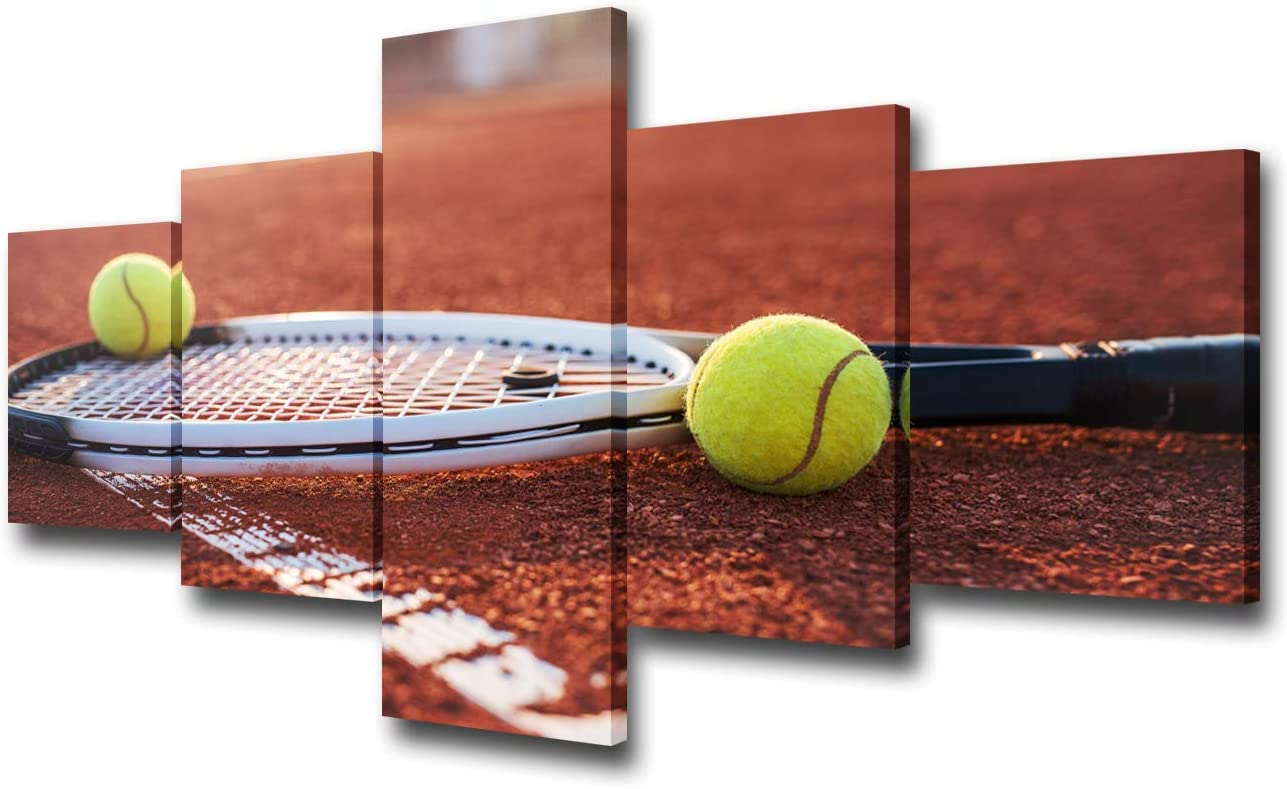 5 Panel Tennis Wall Art Pictures for House Artwork Painting Tennis Ball and Racket on Hard Court Under Sunlight Decor Canvas Prints Poster Living Room Decoration Framed Ready to Hang - 50''W x 24''H