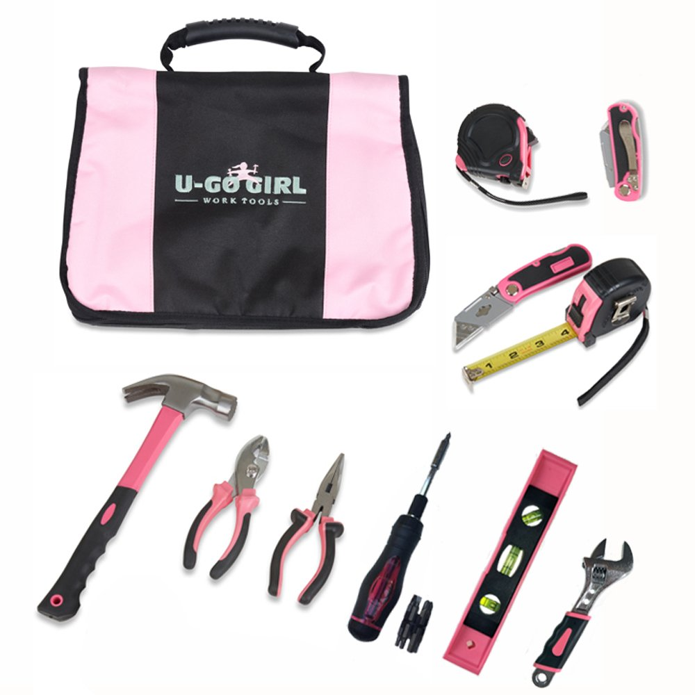 U-GoGirl Work Tools, Expanded Household Pink Tool Kit with a Balanced Fit for Woman's Hands. Just like our original kit, with more tools. As tough as men's tools...for Lady DIYer's and Handywomen.