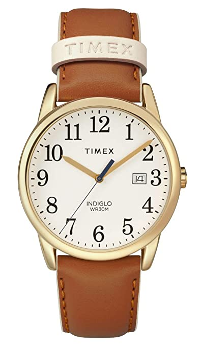 Timex Women's TW2R62700 Easy Reader 38mm Brown/Gold-Tone Leather Strap Watch
