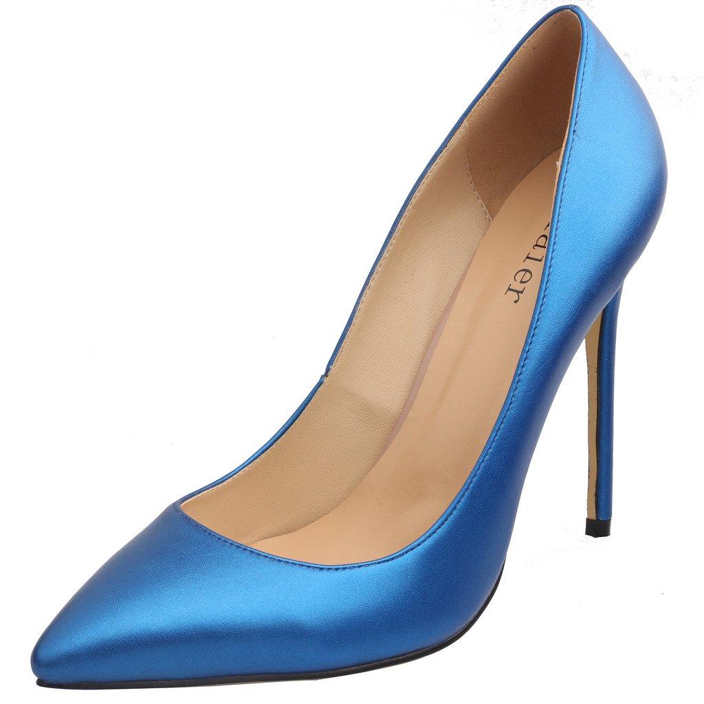 Calaier Mujer Caelse Tacón De Aguja 12CM Sintético Ponerse Zapatos de tacón 41 EU|Azul