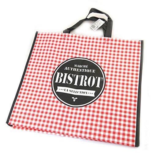 Shopping bag Bistrotpiccoli riquadri rossi - 45x40x20 cm. Salida 2018 HmWwib3