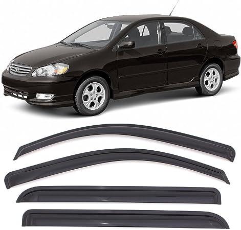 Window Visors Fits 2003-2008 Toyota Corolla Dark Smoke Car Rain Sun Window Shade Guard Wind Deflector Smoke by IKON MOTORSPORTS 2004 2005 2006 2007