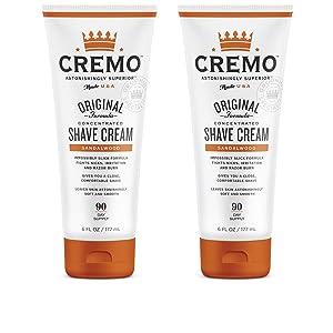 Cremo Sandalwood Shave Cream, Astonishingly Superior Smooth Shaving Cream Fights Nicks, Cuts and Razor Burn, 6 Fluid Ounces, 2-Pack