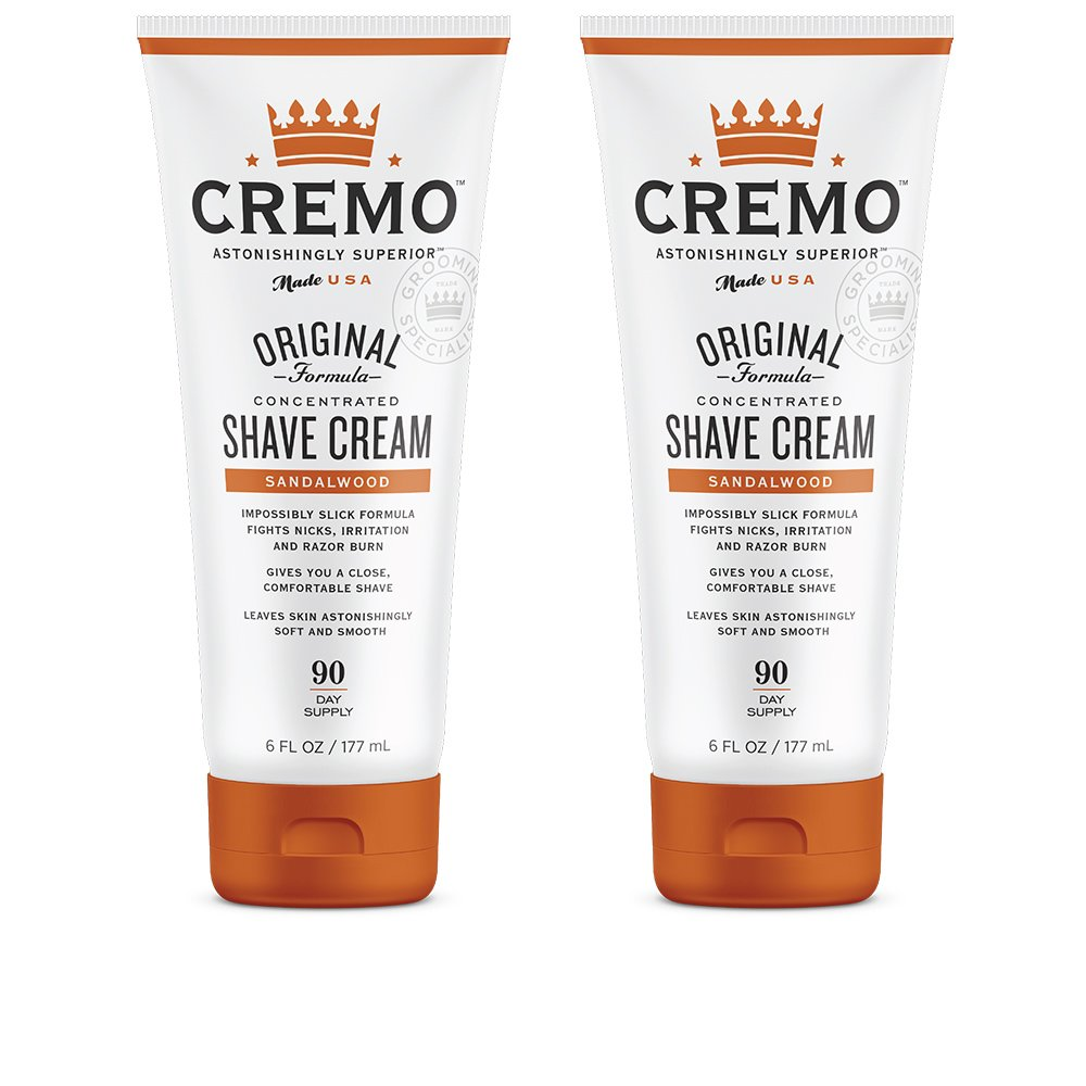 Cremo Sandalwood Shave Cream, Astonishingly Superior Smooth Shaving Cream Fights Nicks, Cuts And Razor Burn, 6 oz, 2-Pack