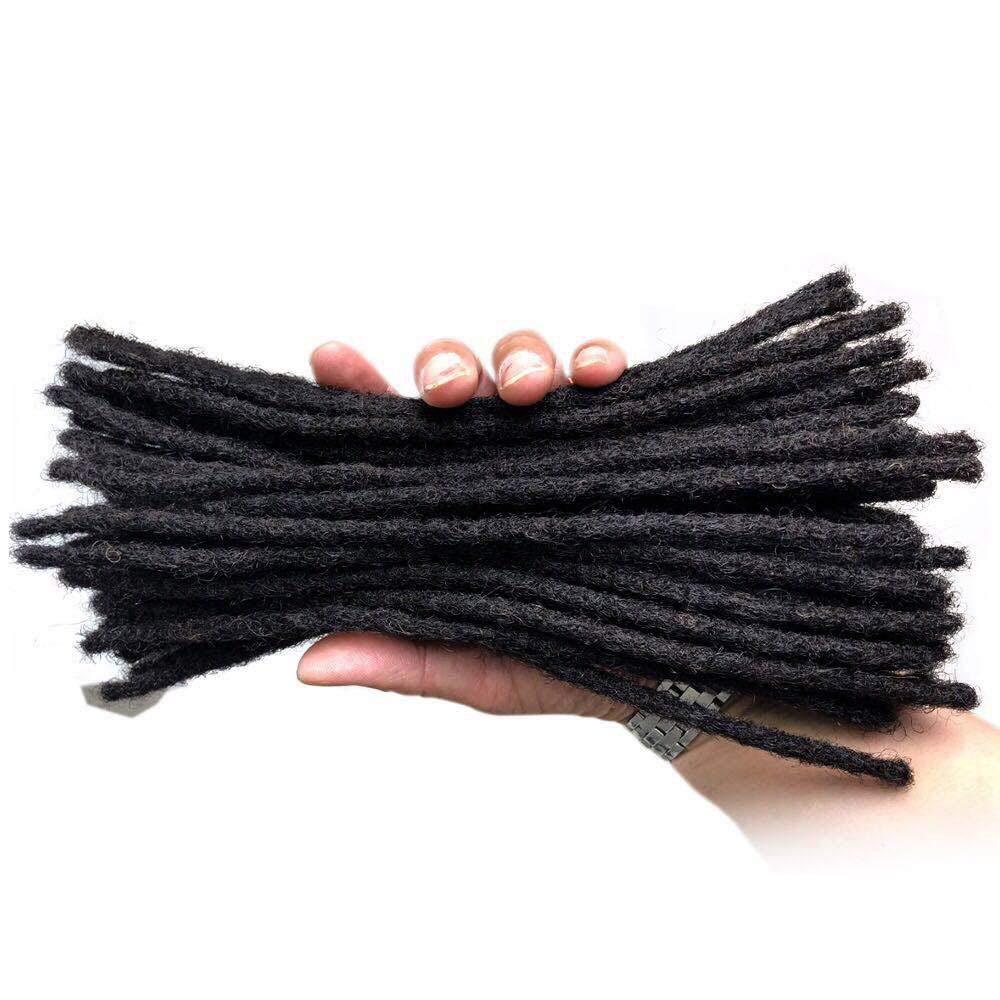 YONNA Human Hair Microlocks Sisterlocks Dreadlocks Extensions 60Locs Full Handmade (Width 0.4cm) 12inch Natual Black #1B