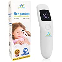 Amplim Non-Contact Touchless Infrared Digital Forehead Thermometer for Adults and Baby. Hospital Medical Grade No Touch Fever Temperature Thermometer