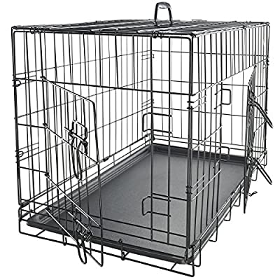 "OxGord 42"" XXL Dog Crate, Double-Doors Folding Metal w/ Divider & Tray 42"" x 27"" x 30"" 2016 Newly Designed Model from Day to Day Imports Inc."